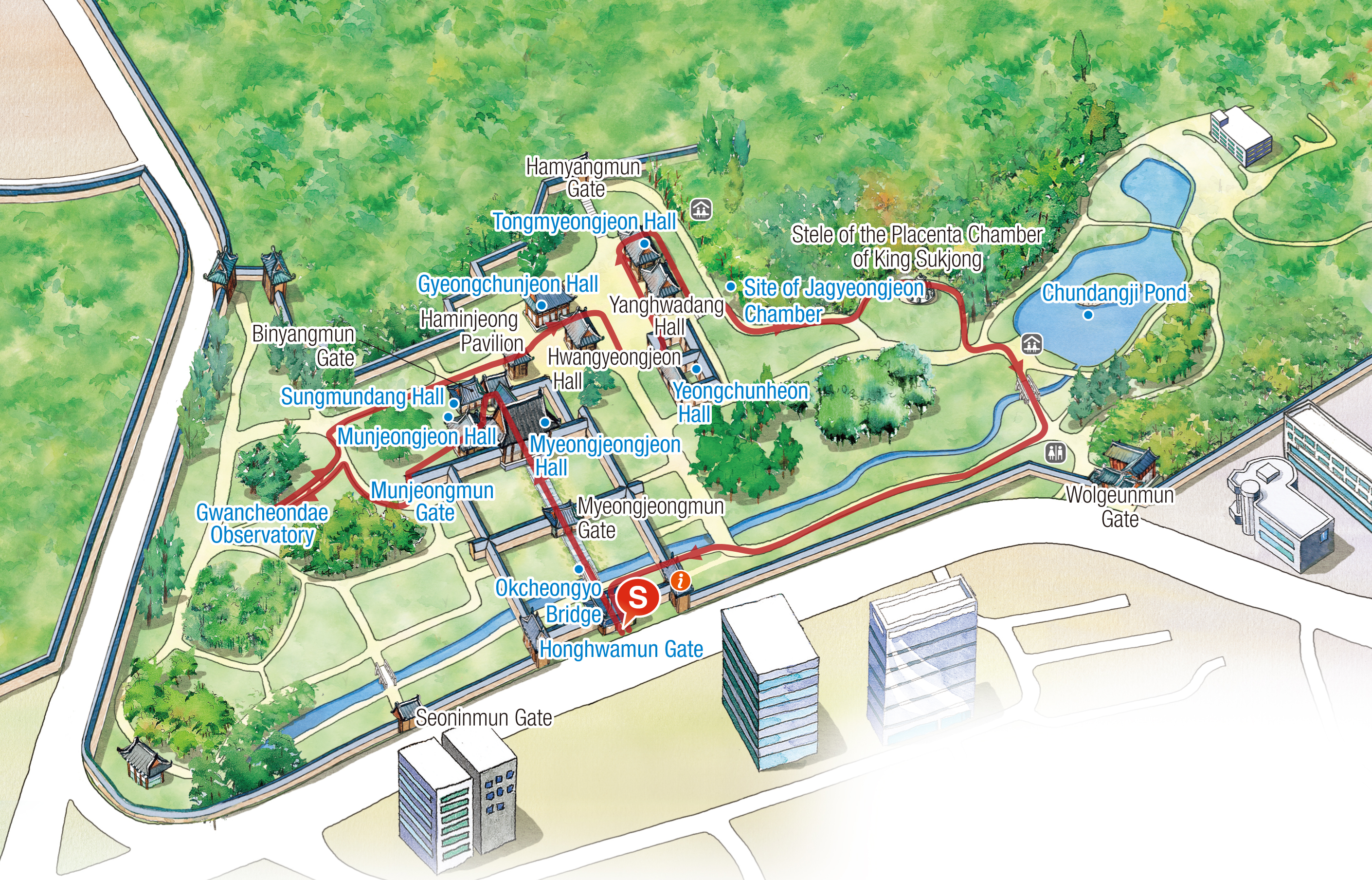 Changgyeonggung course map : Changgyeonggung Honghwamun - Okcheongyo - Myeongjeongjeon Sungmundang - Munjeongjeon - Munjeongmun - Gwancheondae - Gyeongchunjeon - Yeongchunheon - Tongmyeongjeon - Jagyeongjeon Site - Chundangji - Changgyeonggung Honghwamun