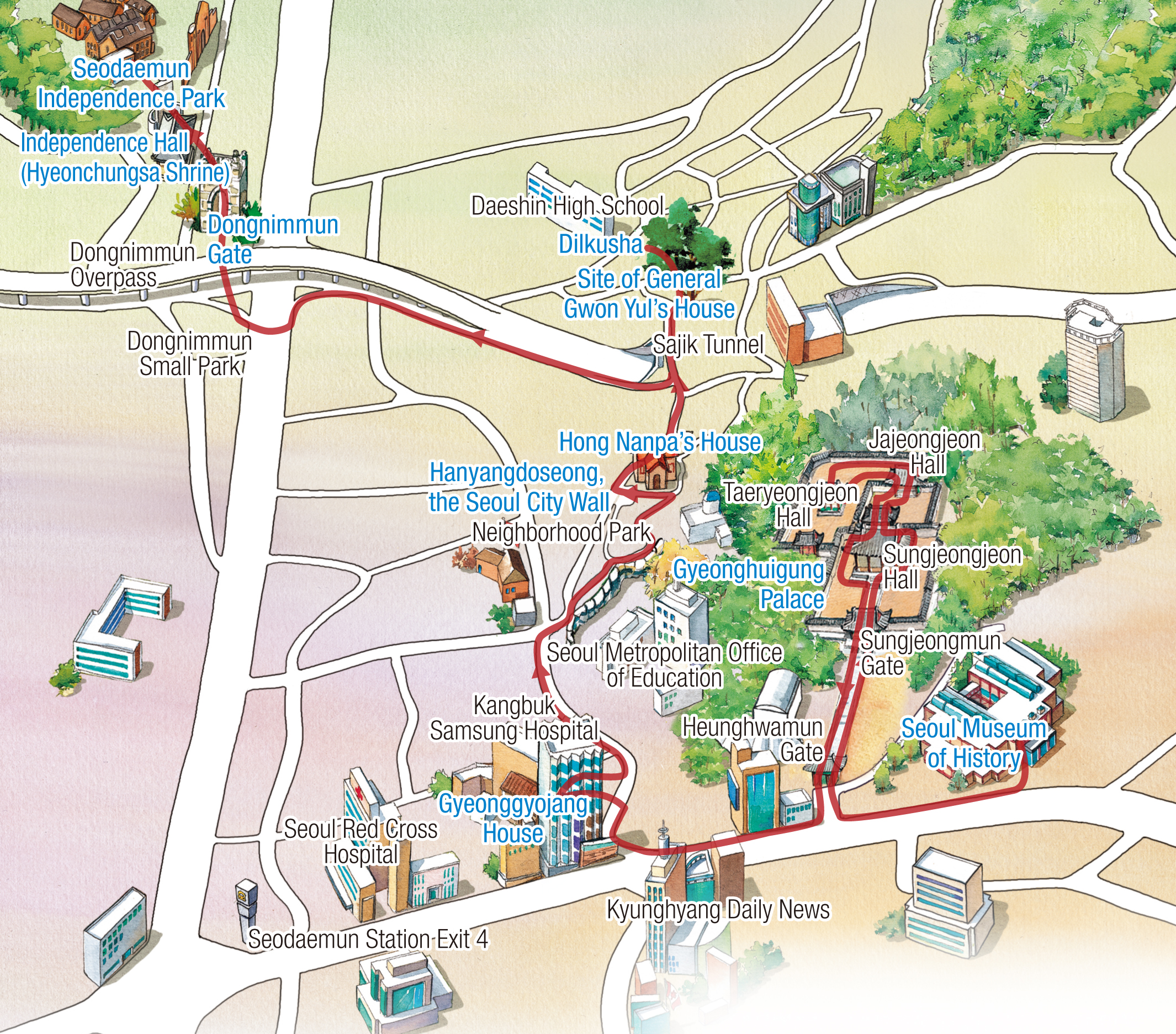 Map of Walking Tour Route : Seoul Museum of History - Gyeonghuigung - Donuimun Museum Village - Gyeonggyojang - Seoul City Wall - Hong Nanpa's House - Site of General Gwon Yul's House(Dilkusha) - Dongnimmun - Dongnipgwan (Hyeonchungsa) - Seodaemun Independence Park