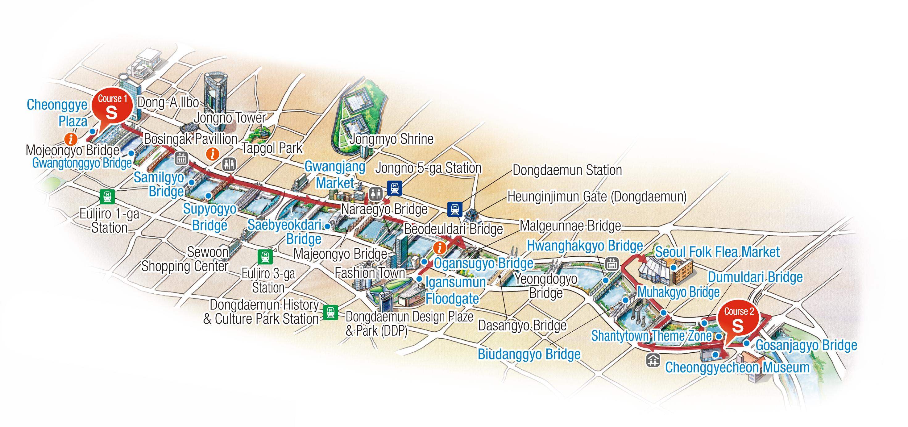 Map of Walking Tour Route : Cheonggye Plaza - Gwangtonggyo - Samilgyo - Supyogyo - Saebyeokdari - Gwangjang Market - Ogansugyo - Igansmumun Floodgate