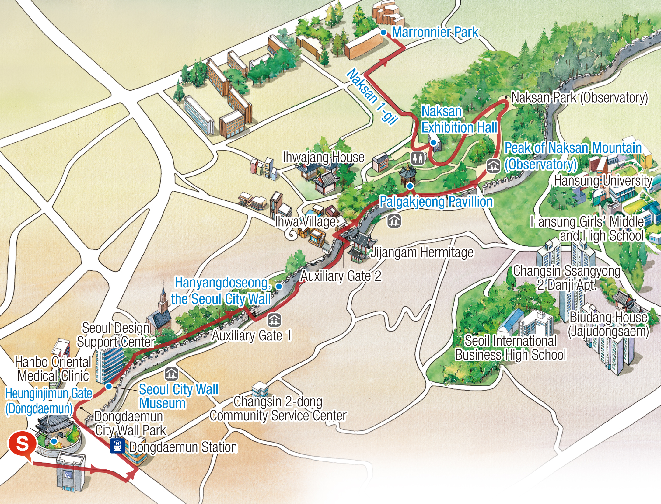 Map of Walking Tour Route : 1) Heunginjimun -> 2) Seoul City Wall Museum -> 3) Palgakjeong(Hongdeogi Field) -> 4) The top of Naksan(observatory) -> 5) Naksan Exhibition Hall Naksan 1-gil -> 6) Marronnier Park