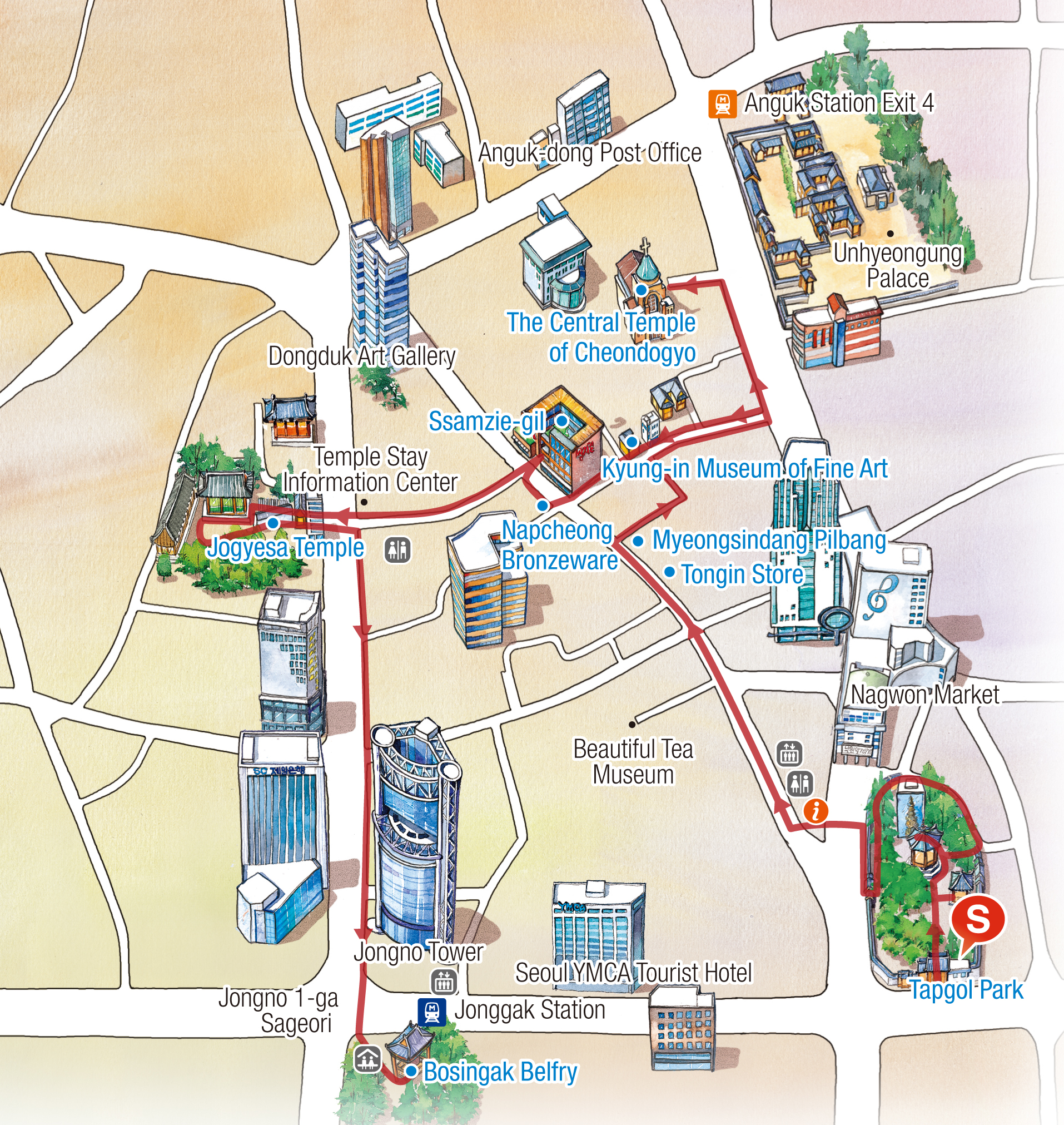 Map of Walking Tour Route Map : Tapgol Park - Tong-in Store - Myungsindang pilbang - The Central Temple of Cheondogyo - Kyungin Museum of Fine Art Napcheong Bronzeware -Ssamzie-gil - Jogyesa(Temple) - Bosingak